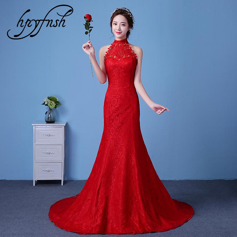 Simple Sexy Backless Mermaid Train High Lace Appliques Wedding Dress 2020 New Fashion Korean Style A-line bride Vestido De Noiva