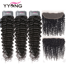 YYong 3 Bundles Peruvian Deep Wave With Frontal Ear To Lace Remy Human Hair Bundle Closure