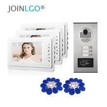 "Nieuwe 7 ""Scherm Video Intercom Appartement Deurtelefoon Systeem 2 Wit Monitoren Rfid Access Deur Camera Voor 2 / 3 / 4 Appartement Familie"
