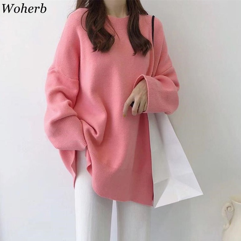 Woherb New 2020 Autumn 10 Colors Candy Solid Sweater Women Tops Pullover Korean Loose Sweet Style Elegant Casual Knitted Jumper
