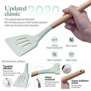 Image 5 - Silicone Kitchen Utensils Set 11 Pcs Wooden Cooking Utensils with Holder Spatula Ladle Spoons Shovel Non stick Cooking Tools Set