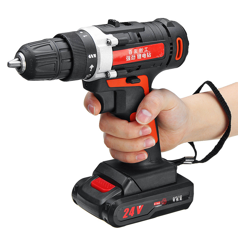 12V/24V Cordless Power Drill Lithium Battery Power Drill Cordless Rechargeable Portable Double-Speed Screwdriver Drills Kit