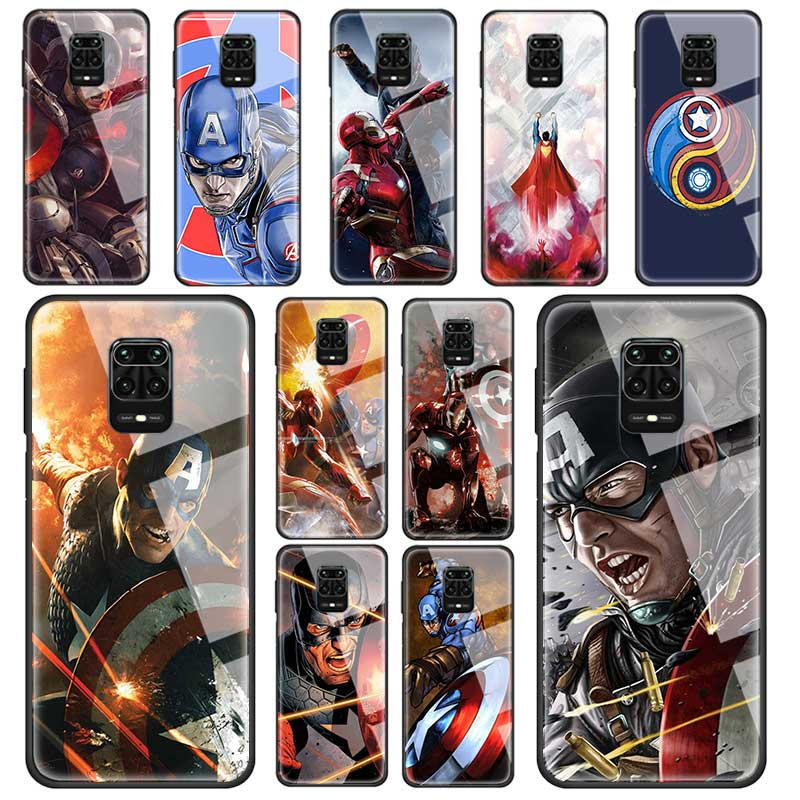 marvel-font-b-avengers-b-font-iron-man-captain-case-for-xiaomi-redmi-note-8-8t-9s-9-pro-max-7-k30-zoom-mi-10-cc9-9t-8lite-tempered-glass-cover