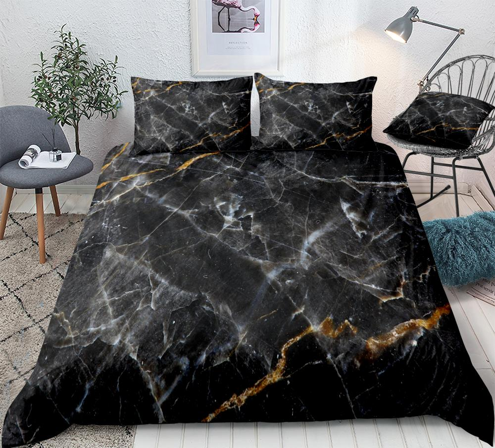 Marble Duvet Cover Set Black Gold Bedding Set Marble Abstract Art