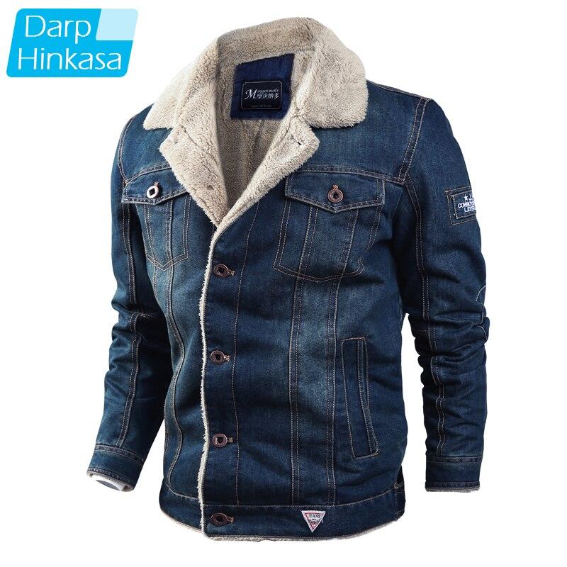 DARPHINKASA 2020 Winter Thickened Denim Jacket Men Streetwear Casual Warm Bomber Denim Jacket Fleece Fashion Jacket Men