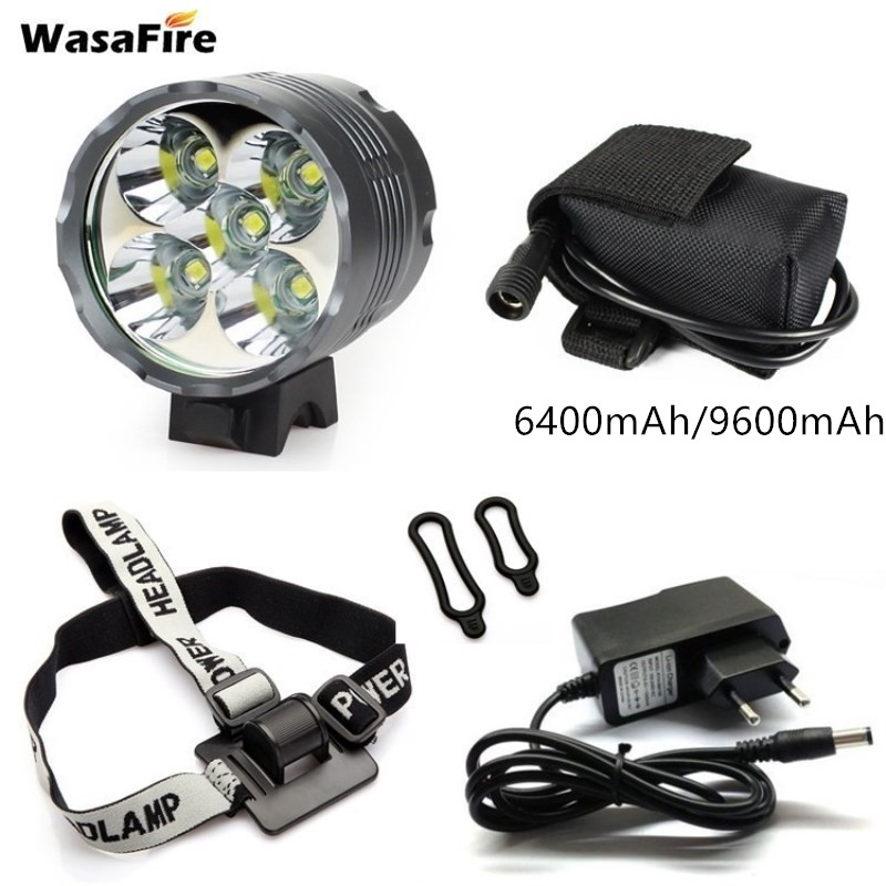 WasaFire 5* XML T6 Bike <font><b>Light</b></font> <font><b>7000</b></font> <font><b>Lumen</b></font> LED <font><b>Bicycle</b></font> <font><b>Light</b></font> Headlamp Cycling MTB Headlight + 9600mAh Battery Pack + 8.4V Charger image