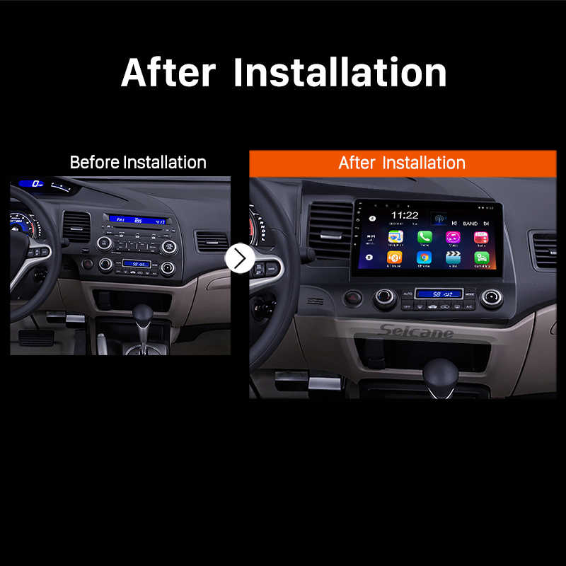 Seicane Android 9.0 10.1 cala 2Din Radio samochodowe Quad-Core WiFi odtwarzacz multimedialny dla Honda Civic 2006 2007 208 2009 2010 2011
