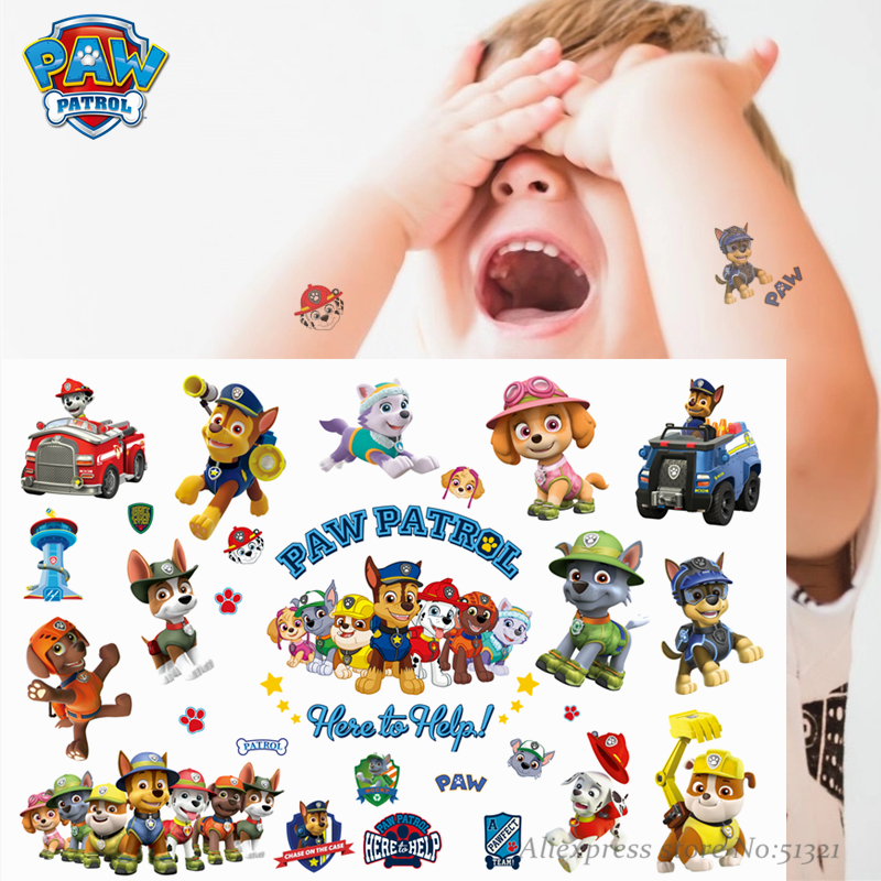 Paw Patrol Cute Cartoon Temporary Tattoo Sticker For Boys Children Toys Tatoo Paper Paste Waterproof Birthday Party Kids Gift