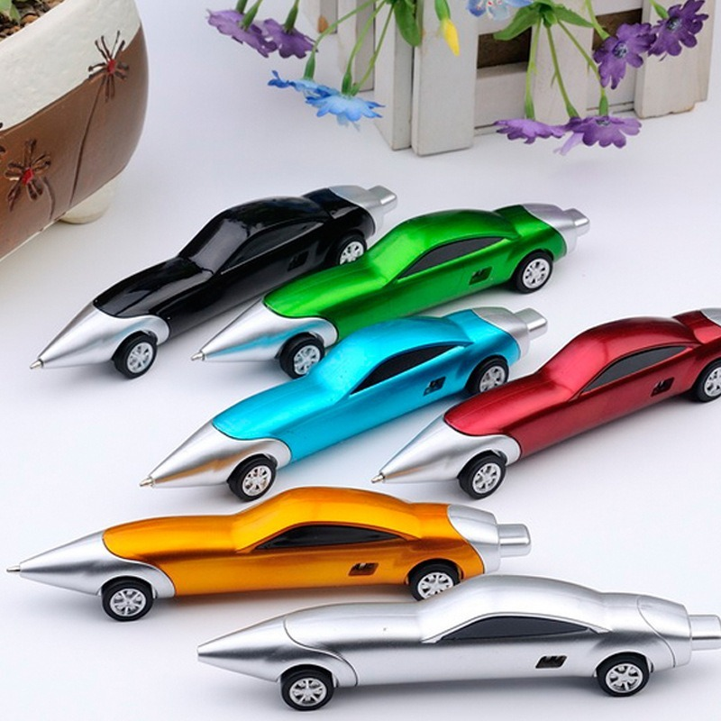 1Pcs Creative Stylish Electroplated Car Model Blue Ball Pen Vehicles Toys Delicate Sports Car Appearance Pupil Prize Pen