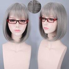 Женский парик для Хэллоуина, ярко-серого цвета, с короткими волосами, длиной 35 см