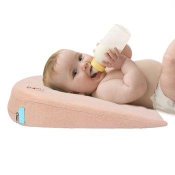 1 Pc Baby Wedge Pillow Made of Memory Foam with 10 degrees Tilt and the Thin Bottom