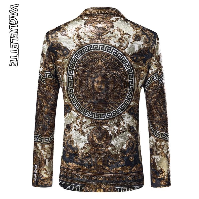 Vaguelette dorado Jacquard Blazer ajustado Blazer Masculino 2019 chaqueta de invierno para hombre Club DJ chaqueta para hombre chaqueta de escenario - 4