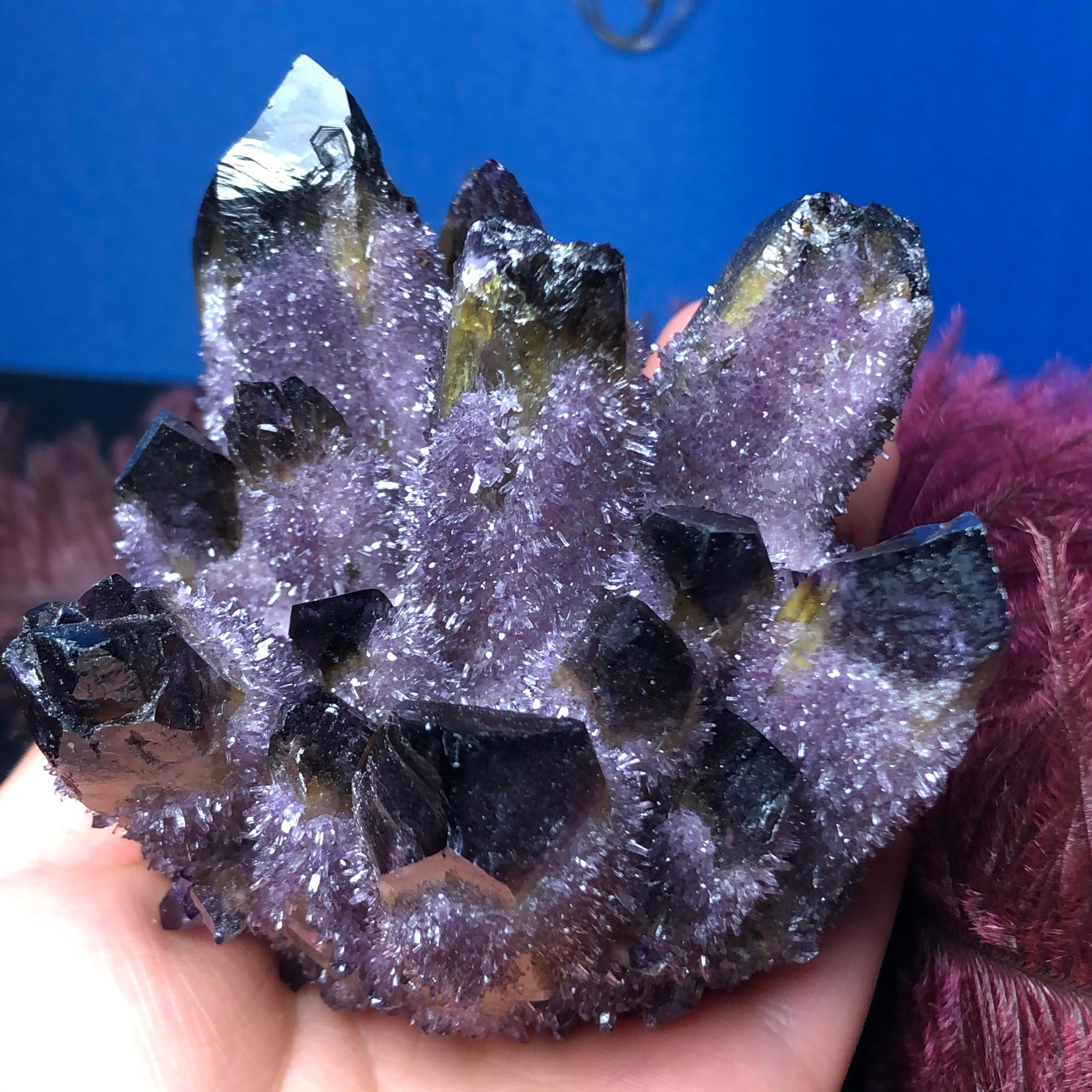 1 pièce de cristal de Quartz fantôme violet | Grappe de pierres et cristaux minéraux, spécimen de guérison reiki, décoration de la maison