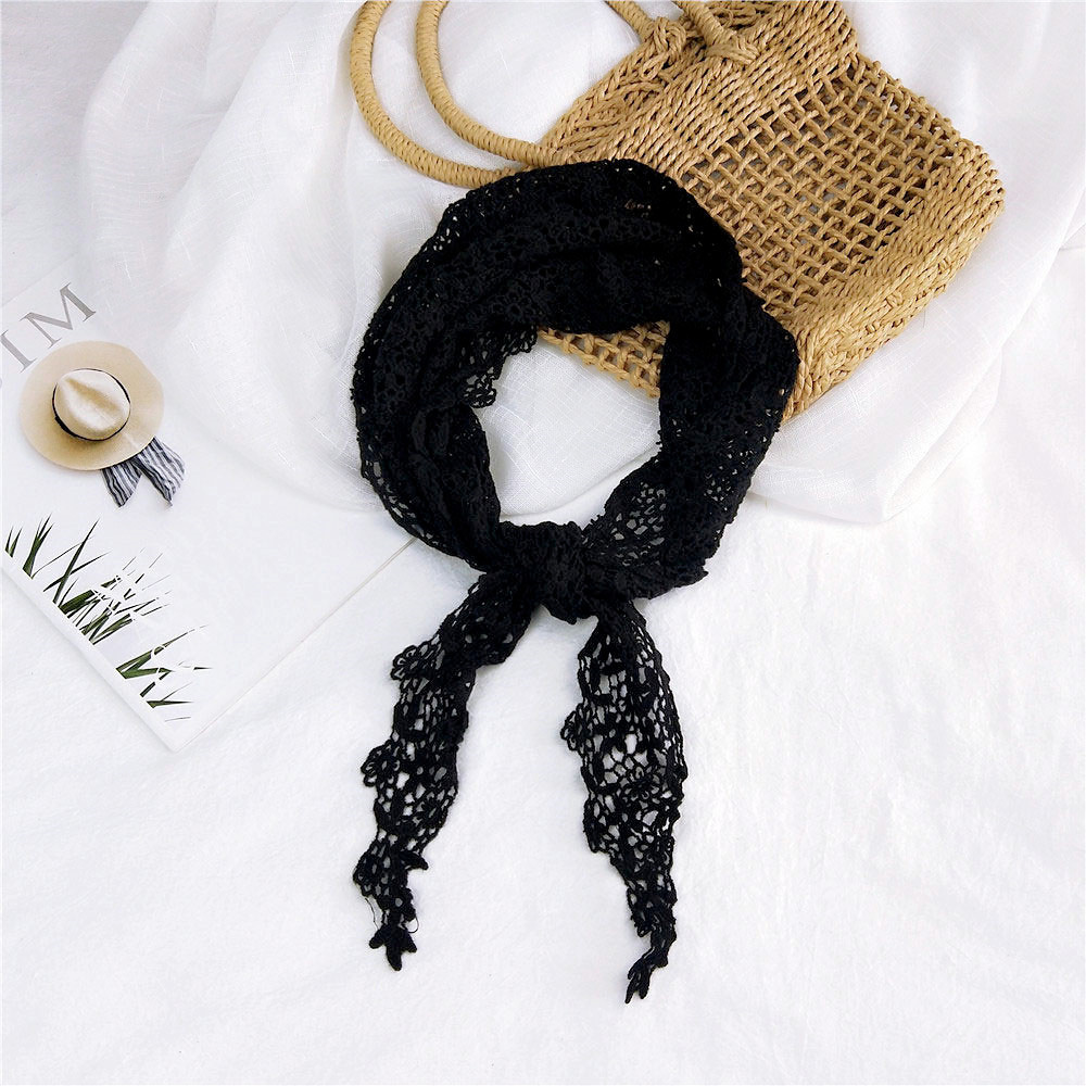 2020 New Spring Summer Women's White Black Triangle Lace Scarf Handkerchief Bag With Flowers Woman Silk Hair Head Scarfs Bandana