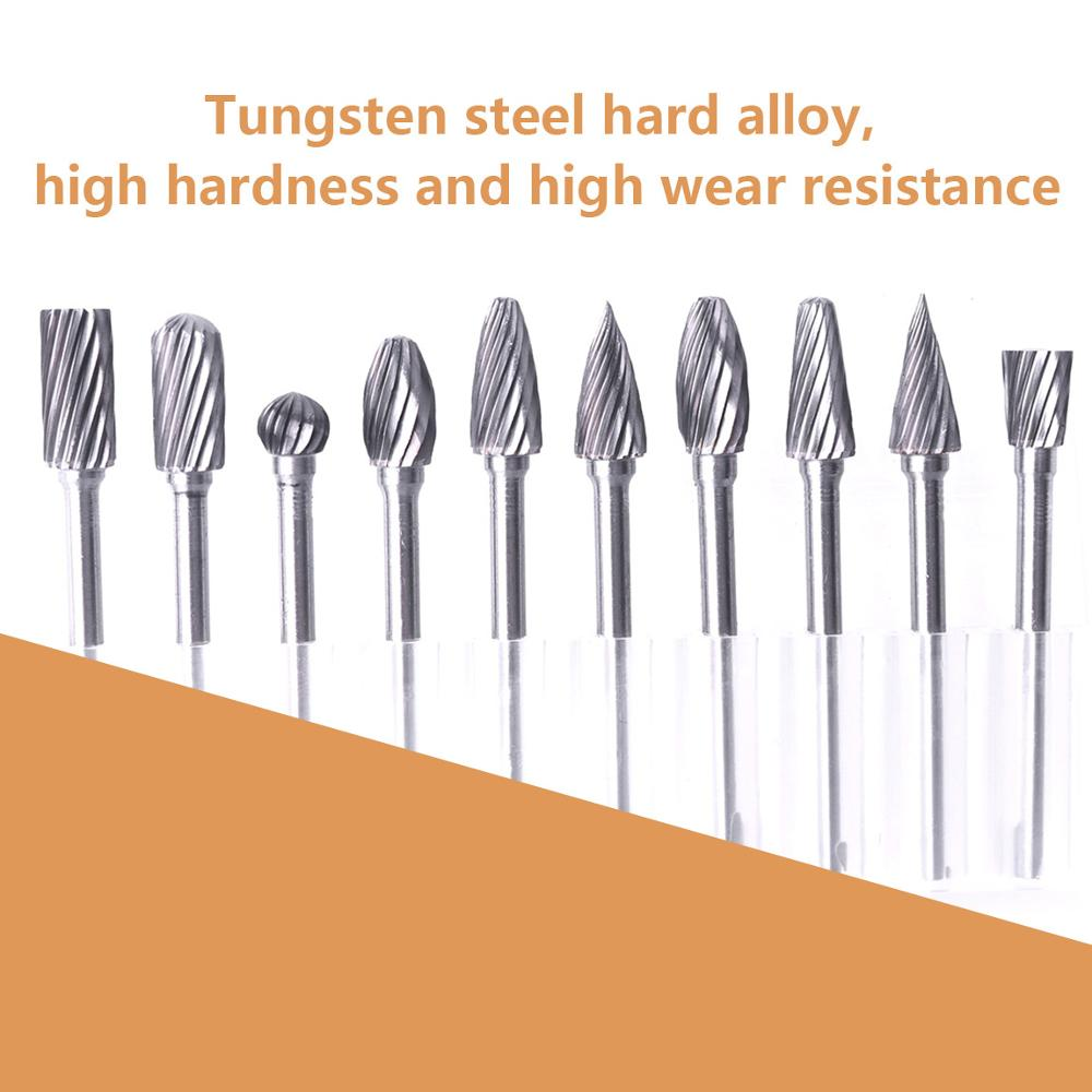 Tungsten Carbide Burr 10Pcs 4mm Carving Grinding Head Rotary Drill Bit Shank 3mm