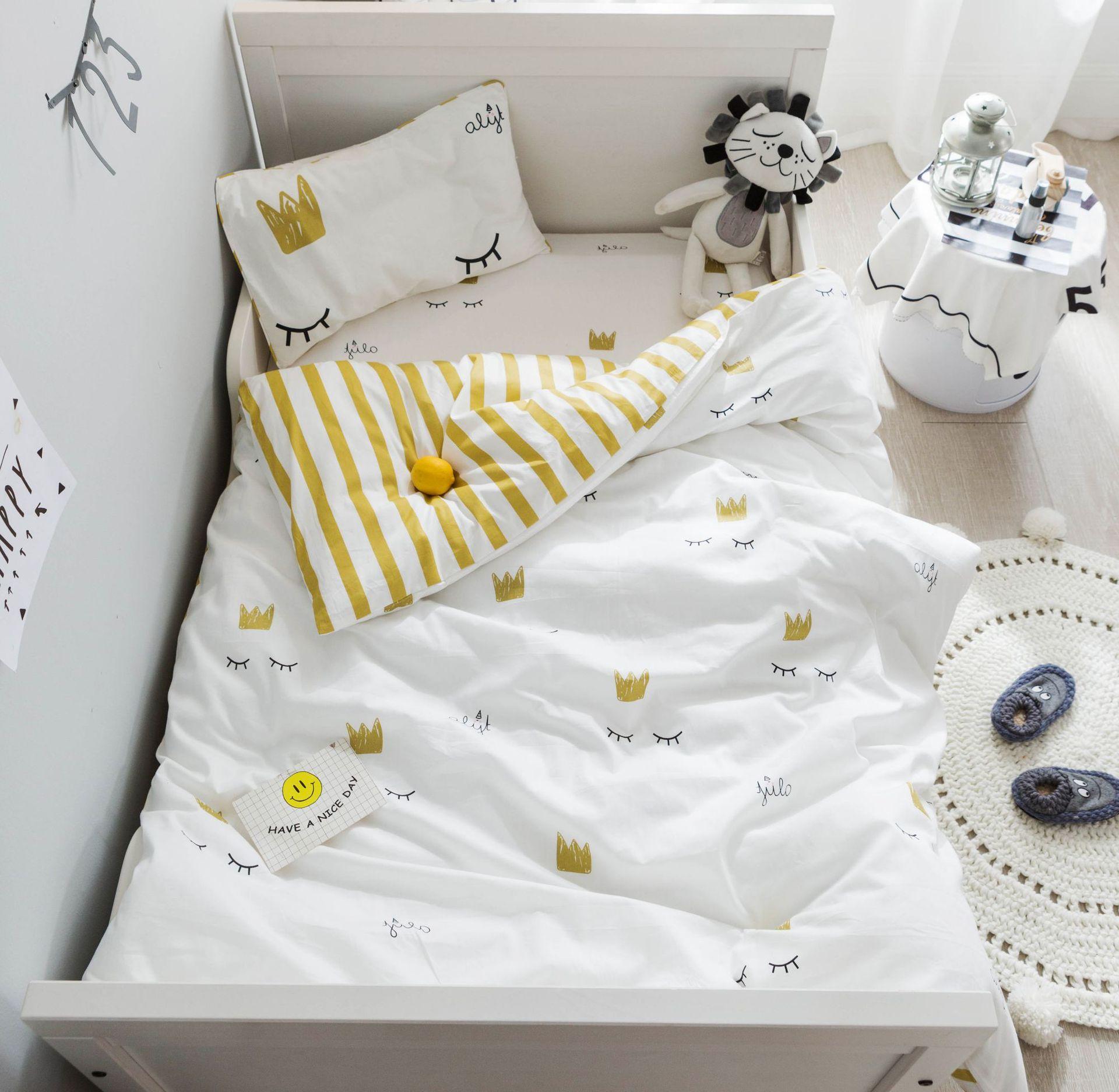 3Pcs Baby Bedding Set For Boy Girl Cartoon Soft Cotton Crib Bed Linen Set Include Pillowcase Bed Sheet Duvet Cover No Filler