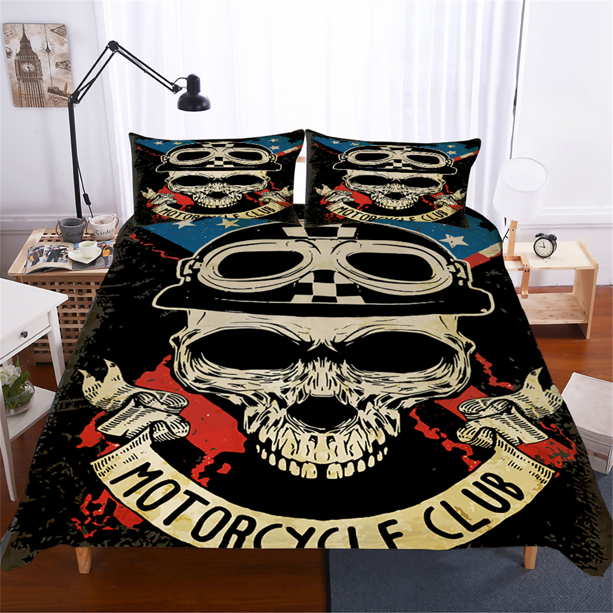 Skull Quilt Cover Pillow Sham Motor Club Printing Hip Hop Soft Bedspread 100% Microfiber Teens Winter Home Soft Bedding Sets