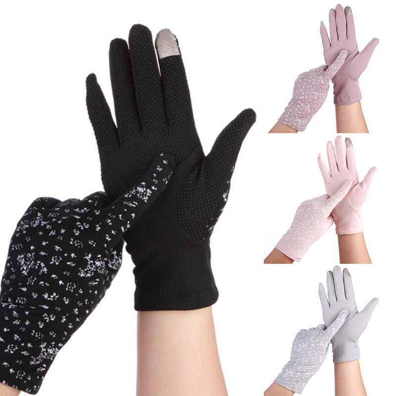 Women Pink Sunscreen Stretch Gloves Summer Spring Lady Touch Screen Anti Uv Slip Resistant Driving Glove Breathable Guantes
