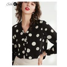 Шелковая женская рубашка в горошек с длинным рукавом и v образным
