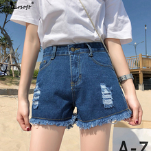 Plus Size Women's Summer Casual Fashion Sexy Denim Short Trend Classic Retro Raw Edge Ripped pole dance High Waist Shorts Women fashionable plus size button fly raw edge denim pinafore skirt for women