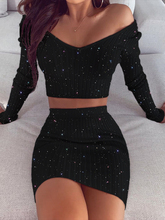 Glitter Off Shoulder Crop Top & Skirt Sets Long Sleeve Crop Tops Mini Skirts Party Club Dress Ladies 2 Piece Set off the shoulder checked long sleeve crop top