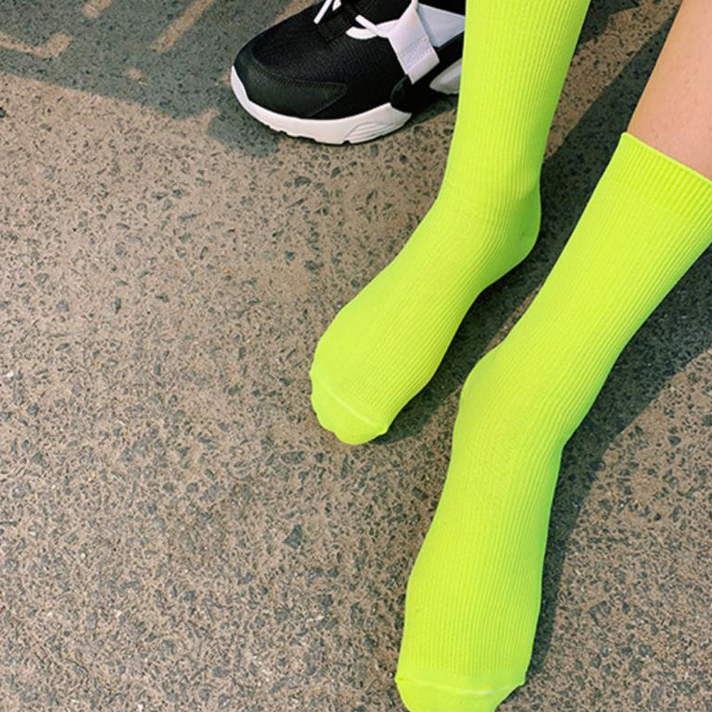 2019 New Fashion Women Funny Cute   Socks   Couple Women Men Unisex   Socks   Casual Candy Color   Socks   Neon Pink Fluoscrence Green   Socks