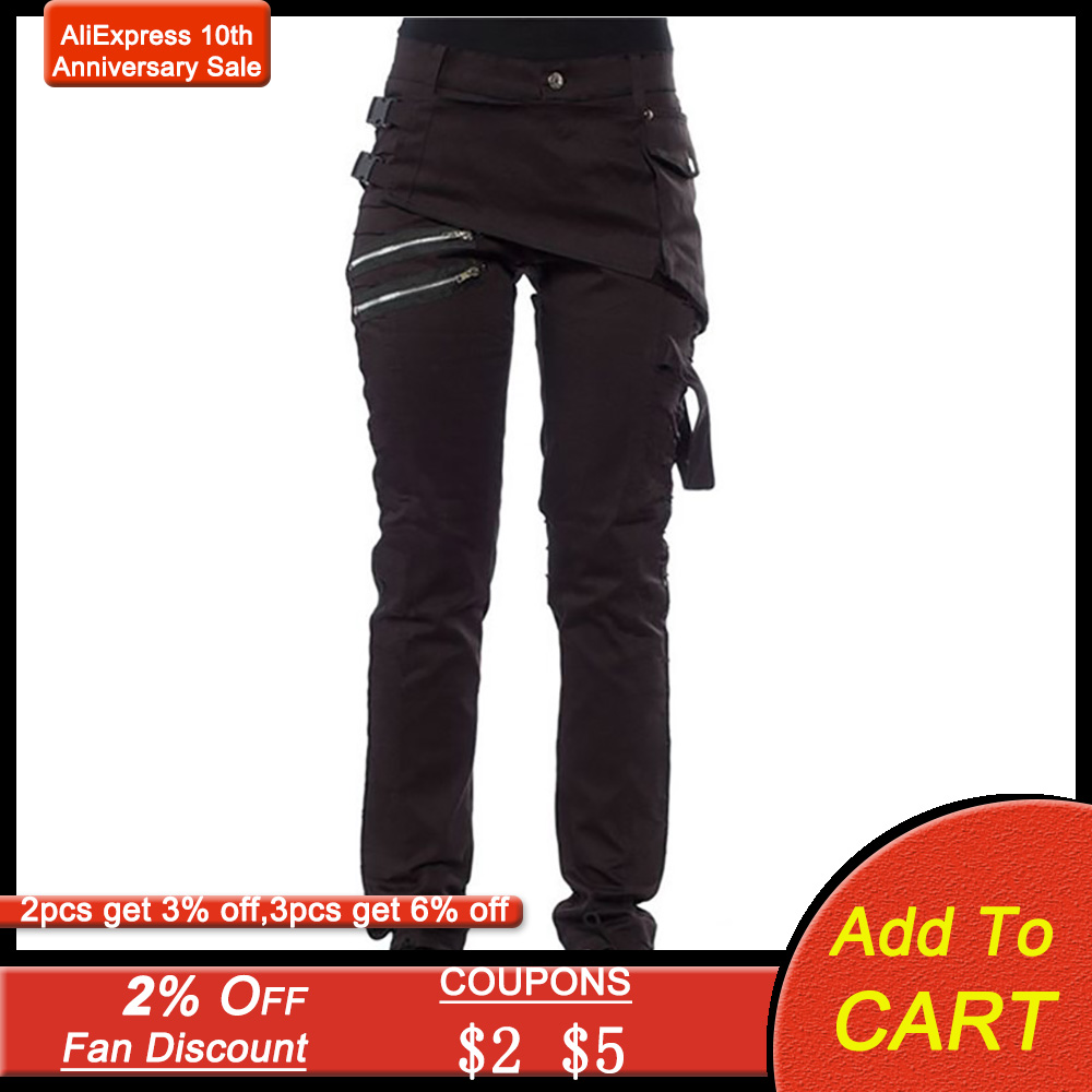 Women Black Slim Pants Goth Fashion Zipper Punk 2020 Spring Casual Streetwerar Solid Color Gothic Trousers Plus Size S-5XL