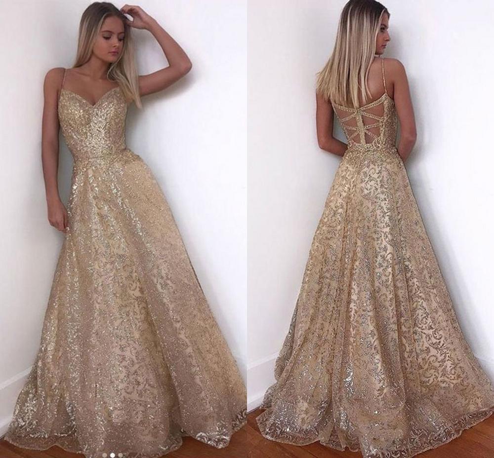 US $15.15 15 Gold Dress Long Sparkle New V Neck Women Elegant Straps  Sequin A line Maxi Evening Party Gown Dress abendkleiderDresses -  AliExpress