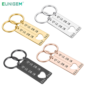 Personalized Heart Keychain Set Engraved King Date and Name Love Keyring Gift for Couples Girlfriend Boyfriends Key Chain Rings