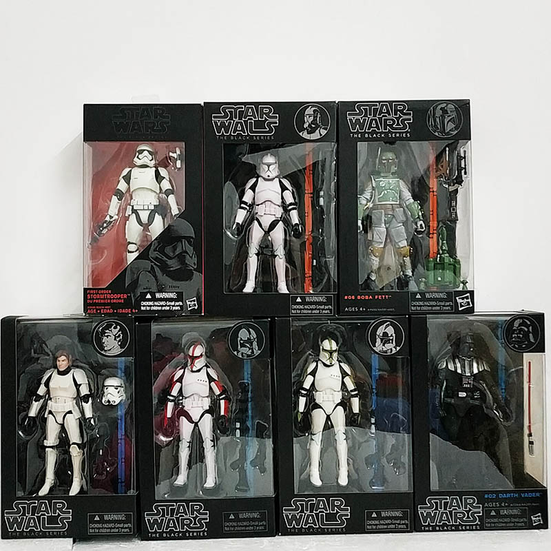 12 Types Star Wars The Black Series Boba Kylo Phasma 02 Darth Maul Darth Vader Hab Solo Action Figure Model Toys Doll For Gift