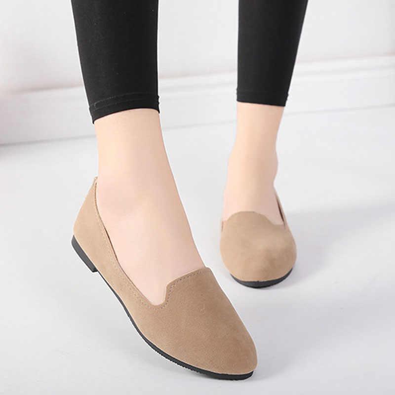 2020 Mùa Xuân Và Mùa Thu Nữ Giày Nữ Giày Đế Bằng Nữ Trong Kẹo Màu Da Lộn Giày Công Sở WSH2216