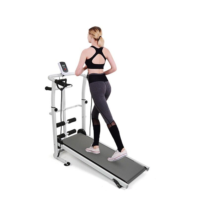 Unisex Fitness Treadmill Mini Folding Treadmill 110X145Cm Black Blue Multi-function Manual Mechanical Treadmill For Home Use HWC