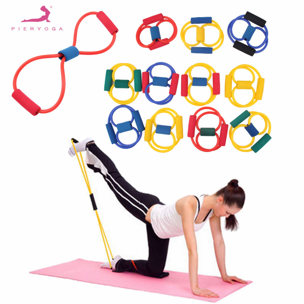 PIERYOGA 1Pcs Resistance 8 Type Muscle Chest Expander Rope Workout Fitness Exercise Yoga Tube Sports Pulling Exerciser Bodybild