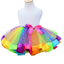 Юбка для маленьких девочек Детские радужные юбки-пачки, мини-юбка принцессы Детское бальное платье, вечерние, свадебные, танцевальные, с бантом, сетчатая Одежда для танцев