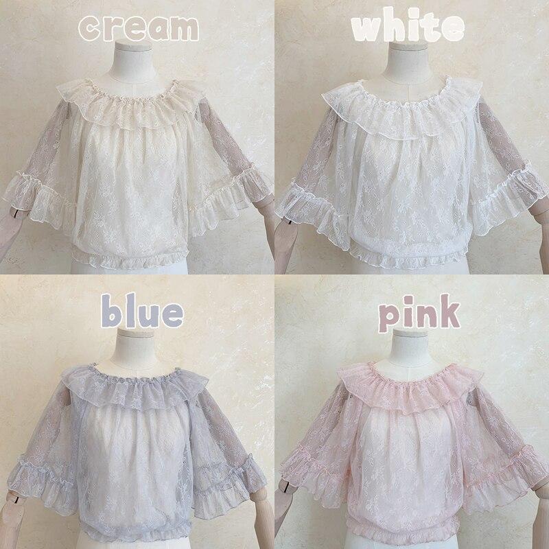Lolita Blouse Kawaii Half Sleeve Shirt Japanese Lace Mesh Tops Women 2021 Summer Flying Sleeve Top Shirt For Girls Streetwear