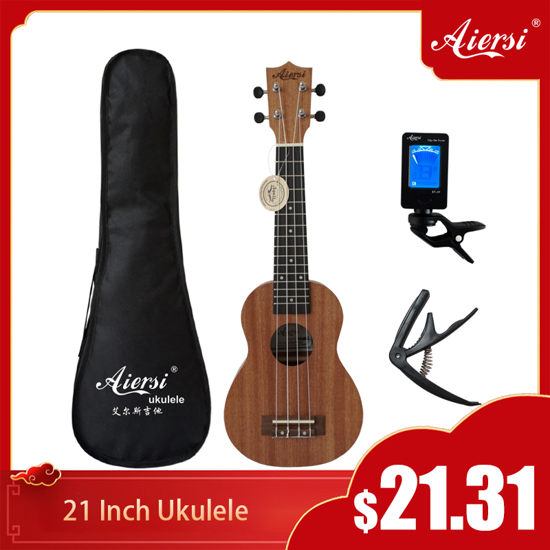 Aiersi Brand 21 Inch Ukelele Mahogany Soprano Gecko Ukulele Musical Instrument  Guitar