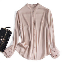 Embroidery Office Lady Real Silk Shirt Women Patchwork O-Neck Moda Mujer Ropa High Quality Shirt for Woman blue long sleeve tops