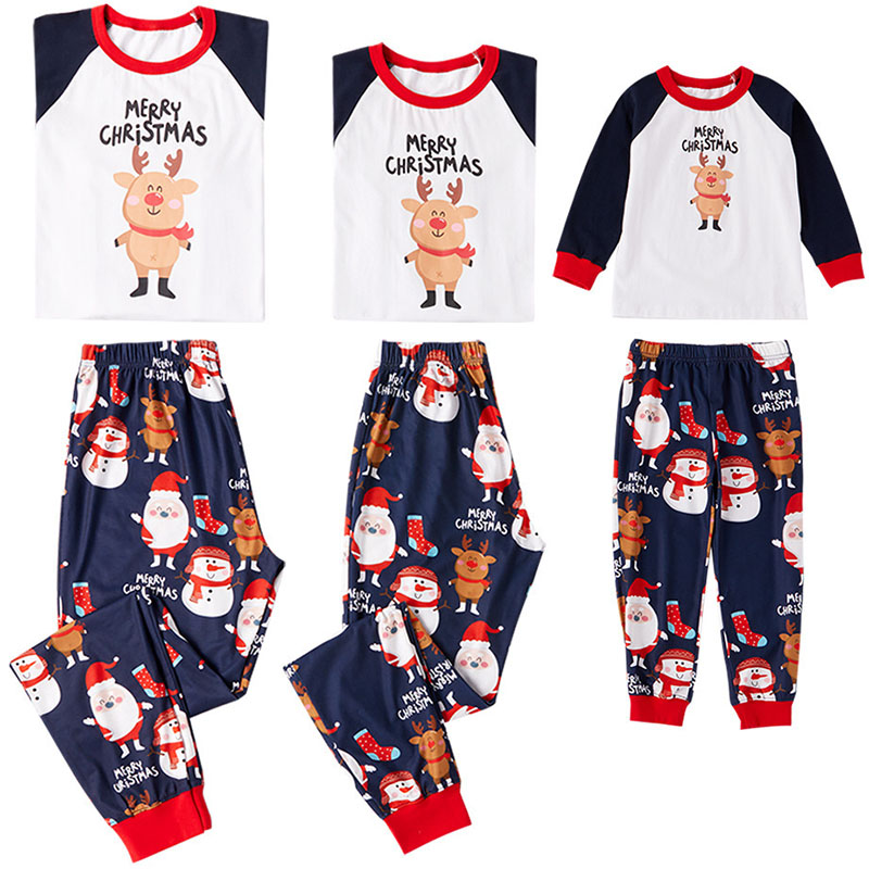 Christmas Family Pajamas Set Long Sleeve Casual Matching Family Outfits Warm Adult Kids Sleepwear Mother Daughter Clothes 2PCS
