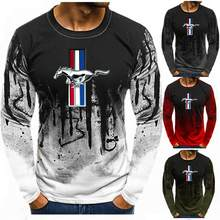 Autumn Long-Sleeve T shirt Men Gradient Color for Ford Mustang Print Fitness Tee Shirt Top Casual Hiphop Streetwear T-shirt V(China)