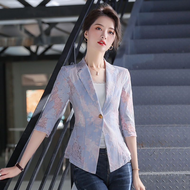 Summer casual lady jacket small suit feminine 2020 New Lace Hollow Ladies Blazer High quality fashion jacket Plus size S-4XL