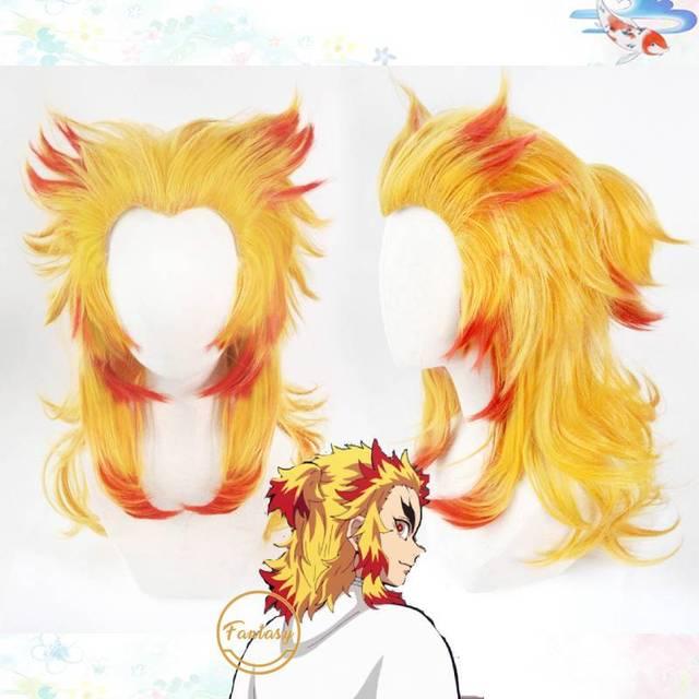 Демон убийца: Kimetsu No Yaiba Rengoku Kyoujurou Косплей парики волос парик + Бесплатный парик