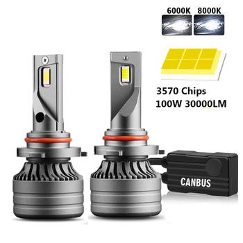 2 sztuk H4 LED H7 100W 30000LM Canbus H1 H8 H9 H11 LED 9005 HB3 9006 HB4 samochodów LED światła reflektorów Turbo przeciwmgielne lampa 6000K 12V tanie i dobre opinie OVEHEL NONE CN (pochodzenie) Universal 12 v 3000 K-12000 K Car LED Headlight 6000K 8000K 30000LM Pair 100W Pair CSP 3570 CHips