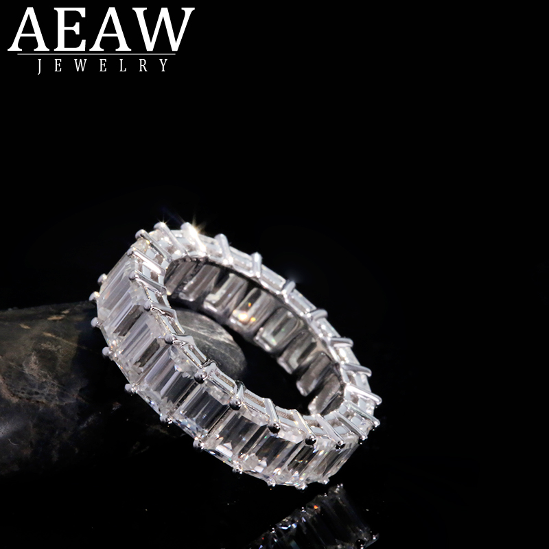 AEAW Solid 14K White Gold Emerald Baguette 3*5mm 2*4mm Engagement Band Ring Wedding Moissanite Eternity Band For Women