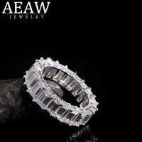 AEAW Solide 14K Weiß Gold Smaragd Baguette 3*5mm 2*4mm Engagement Band Ring Hochzeit moissanite Eternity Band Für Frauen