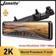 Jansite – caméra de tableau de bord Dvr avec écran tactile 2K de 11 pouces, enregistreur vidéo automatique avec rétroviseur, vision nocturne