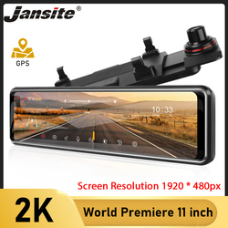 Jansite Car Dvr 11 Inch 2K Touch Screen Video Recorder Auto Registrar Stream Mirror With RearView Camera night vision dash cam