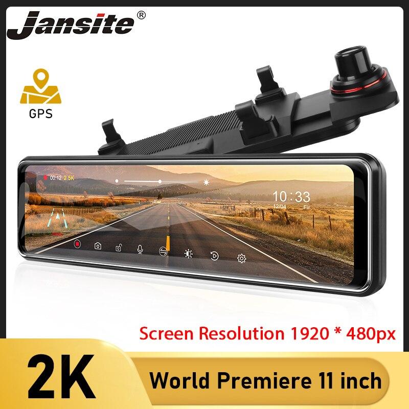 Jansite carro dvr 11 Polegada 2k tela sensível ao toque gravador de vídeo auto registrador córrego espelho com câmera retrovisor visão noturna traço cam