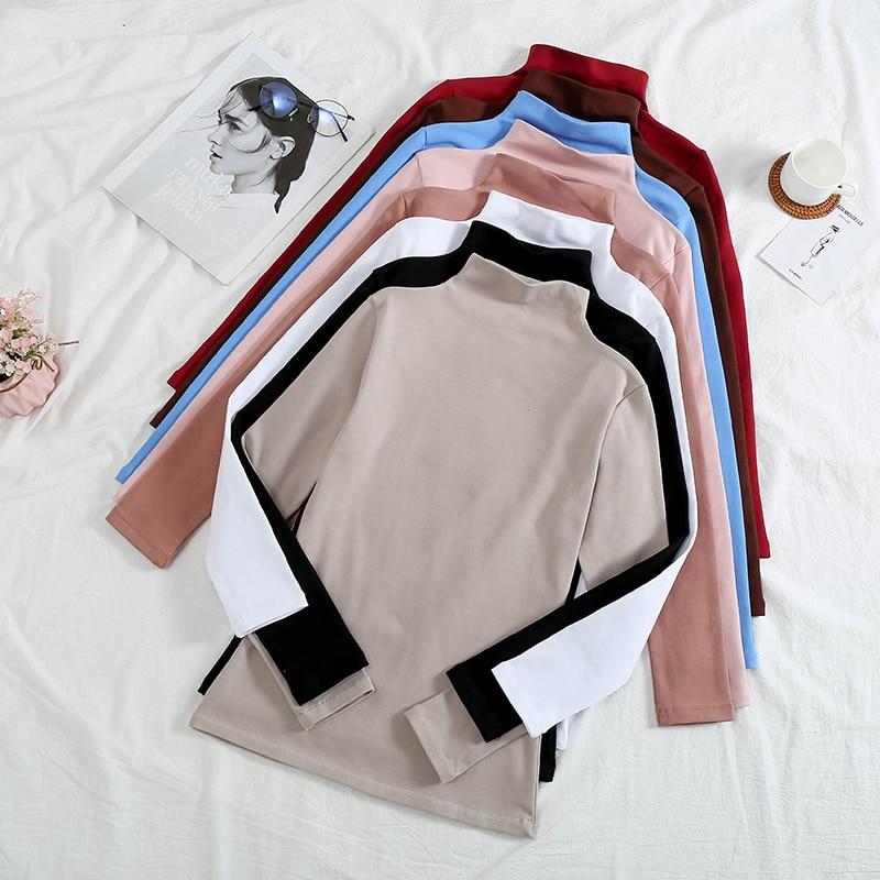 T Shirt Women Tshirt autumn winter Vintage Turtleneck Plus Velvet solid Color Long Sleeve T-shirt Vestidos Ropa Mujer T054