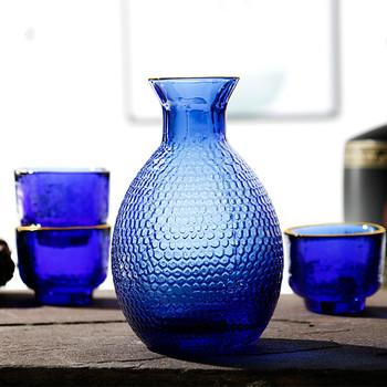 1 karafka 4 niebieskie szkło wina zestaw filiżanek młotek wzór siatki szafirowy niebieski niebieskie szkło Hip kolby zestaw prętów wina wino w butelce karafka tanie i dobre opinie BOUSSAC CN (pochodzenie) Ekologiczne BS31101 CE UE Lfgb Wine Set Wine Pot Wine Glass Blue Blue + Gold Foil Lead-Free Glass