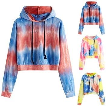 цена на Casual худи толстовка женская hoodie Coat women's autumn Print Long Sleeve Hooded collar Pullover Tie-dye Sweatshirt Tops